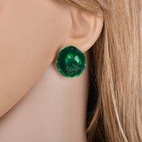pendentif turquoise trapu achat en gros de-2019 vente chaude en alliage de Zinc Femme Bijoux Deep Green Stone Vintage Chunky Pendentif Stup Boucles D'oreilles pour les Femmes E2806