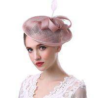 ingrosso cappello della chiesa di sinamay delle donne-Elegante cappelli da sposa in organza stile europeo Sinamay Chiesa formale cappello Fascinator cappelli da sposa romantici per le donne CPA1922