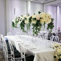klare kristall-acryl-blume großhandel-Tisch Blumenständer Hoch Acryl Blumenständer Kristall Hochzeit Straße Blei Klar Hochzeitsmittel Event Party Dekoration