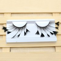 Wholesale artificial lash extensions resale online - 1 Pair Party Artificial Feather Soft Makeup Masquerade Stage Tool Art Long Extension Reusable Fashion False Eyelash Exaggerated