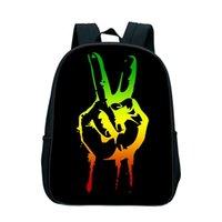 mochila de niña de 12 pulgadas al por mayor-Nuevo 12 pulgadas Bob Marley Bag For Kindergarten Music Star Reggae Niños Boy Girls School Mochila Mochila Estudiante Bolsas Regalos