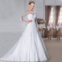 robes de mariée lacées achat en gros de-Une ligne robes de mariée avec balayage train dentelle appliques robe de mariée bouton Retour robes de mariée abiti sposa