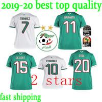 kısa futbol takımı toptan satış-Yeni 2019 Cezayir milli futbol takımı Ev beyaz Uzakta Yeşil 19 20 Erkekler Futbol Formalar Futbol Gömlek Kısa kollu Cezayir Futbol Üniforma
