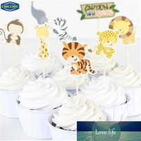 cure-dents drapeau achat en gros de-Cartoon Wild Animal Park un ensemble Cupcake Toppers fruits Picks Drapeaux gâteau de cuisson décoration avec Toothpicks QH0030