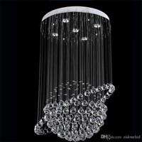 lustres de cristal de bola redonda venda por atacado-Modern Rodada K9 lustres de cristal Raindrop embutida de teto luz das escadas Luzes pendentes Luminárias Hotel Villa Crystal Ball Lamp Forma