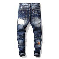 erkekler için moda ayakkabı kot toptan satış-Moda Erkekler Vintage Yıkanmış Patckwork Jeans Tasarımcı Düz Fit Denim Pantolon Erkekler Için Jean Pantolon Ripped