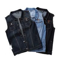 ingrosso giacche 8xl-Plus Size 8XL 7XL 6XL Abbigliamento Primavera Denim Gilet da Uomo Giacche da Cowboy Senza Maniche Uomo Vintage Casual Gilet Jeans Uomo Gilet