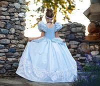 ingrosso pannello esterno di soffio della principessa-Le ragazze su ordinazione al dettaglio si vestono Cenerentola cosplay bambina Abiti da principessa paillettes di pizzo che bordano abito da sposa manica a sbuffo abito da sera per bambini