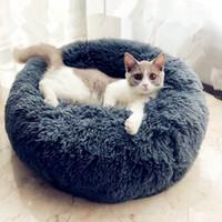pequeña casa de perro suave al por mayor-Ronda de felpa gato cama de la casa suave felpa larga para perros pequeños gatos Nido de dormir de invierno caliente cama del perrito Mat