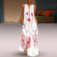 vestidos maxi vermelhos mais tamanho venda por atacado-CALOFE Vestido de Praia Verão Branco Mulheres Plus Size 2019 Moda Red Cotton Boho Vestido Sem Mangas Impresso Longo Maxi