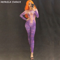 Wholesale snake woman costume online - Purple D Printing Snake Women Jumpsuit Nightclub Dj Costume Dancer Bodysuit Stage Wear Costome Performance Party Celebrate