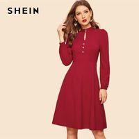 ingrosso abiti moderni borgogna-SHEIN Vintage Borgogna Button Front Fit E Flare Lunghezza ginocchio Dress Stand Collar Modern Lady Donna Una linea abiti