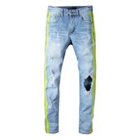 jeans gran agujero rodilla al por mayor-Pantalones vaqueros de mezclilla de rayas laterales del diseñador miri al por mayor de la rodilla gran agujero para hombre jeans azul claro hip hop para hombre estilo de la calle pantalones vaqueros estilo