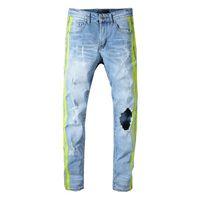 ingrosso ginocchio grande foro dei jeans-Pantaloni di jeans denim a righe laterali firmati miri all'ingrosso grande buco mens jeans blu chiaro hip hop mens moda pantaloni stile street jeans