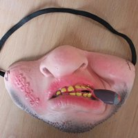 ingrosso maschere a sfera in vendita-Bocca Dente Divertente Maschera Latex Mezza Faccia Confortevole Facepiece Ball Party Perform Prank Decor Prop Vendita calda 4 3cjD1