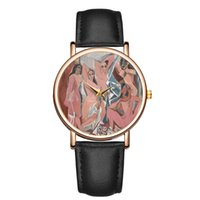 Wholesale abstract bronze art resale online - Fashion casual abstract Post impressionism Classical art Character pattern Quartz watch