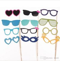 Wholesale funny mustache lips for sale - Group buy New Festive Event Set of Photo Booth Prop Mustache Eye Glasses Lips on a Stick Mask Funny Wedding Party Photography