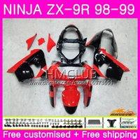 kawasaki ninja zx9 carenagem venda por atacado-Corpo para KAWASAKI NINJA ZX900 ZX9 R ZX 900 ZX-9R 98 99 carroçaria 68HM.0 900CC ZX 9 R ZX9R 98 99 ZX 9R 1998 1999 Kit de carenagens Fábrica vermelho preto