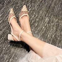 ingrosso i sandali coreani del pattino delle signore-Baotou Sandals Ladies Point Summer 2019 Nuova versione coreana Baitao Spiked Fairy Wind Oneword Buckle Highheeled Shoes