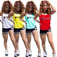 kadın kolsuz tişörtler toptan satış-Tasarımcı Bayan Eşofman Şampiyonu Tankı Yelek T Shirt + Şort iki parçalı Marka kıyafet SLeeveless Spor spor Joggers Takım StreetwearC52303