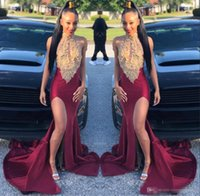 Wholesale girls jackets high neck resale online - Gold Mermaid Prom Dresses Long Sleeves Deep V Neck Lace Appliques Sequins African Black Girl Evening Gowns Plus Cocktail Party Dress cheap20
