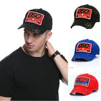 chapéu preto sólido venda por atacado-DSQ Marca Baseball Caps Chapéus Letters DSQ Logo Black Hat Cap Dad Chapéus padrão sólido boné de beisebol DSQ2 Casquette Hop Cap Snapback para o Homem de neg