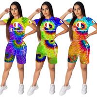 pantalones cortos de arco iris de las mujeres al por mayor-Mujeres Campeones Trajes Tie-dye camiseta + Biker Shorts Set Diseñador Verano Chándales Color del arco iris Traje deportivo Traje Conjunto de tela Body C62704