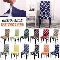 sillas de color morado oscuro al por mayor-1/2 / 4pcs cena la silla Cubiertas Spandex estiramiento impresión extraíble cubierta de la silla del asiento de fundas de cocina cubierta de la caja estiramiento