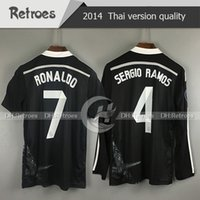 Wholesale bale resale online - 2014 Retro Real Madrid third black Soccer Football Jersey BALE RONALDO KROOS BENZEMA SERGIO RAMOS ASENSIO Long sleeve jersey