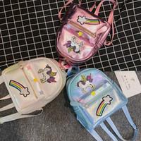 çocuk sırt çantaları toptan satış-Moda Unicorn Karikatür Kız Sırt pullu Kızlar Çanta sevimli çocuk Çantaları çocuklar Deri Çanta Pembe Haftasonu Çanta Kitap Çantası Okul Çantaları A2231