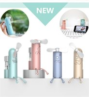 Wholesale mist spraying electric fan resale online - Small Fan Handheld Battery Electric Mini Fan Air Water Bottle Steam Spray Misting Summer Air Cooler for Travel Beac
