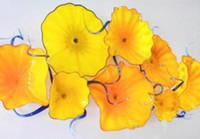 Flower Plates Lamps Creative Bold Yellow Hallway Elegant Hotel Decoration Murano Glass Hanging Indoor Lightings