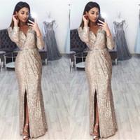 robe de soirée courte sirène achat en gros de-Sexy V Cou Split Manches Longues Sirène De Bal Robes De Soirée 2019 Elegant Or Champagne Glitter Party Dress