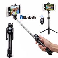 ingrosso bastone di cella del bluetooth-Treppiede bluetooth selfie stick estensibile multifunzione palmare con built in shutter remoto per cellulare iPhone samsung