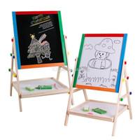 manyetik yazı tahtaları toptan satış-Çocuk Şövale Çift taraflı manyetik Yazı tahtası bebek Sketchpad çocuklar Dirsek tipi tahta C6705