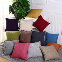 fundas de cojín sofá de lino al por mayor-40 cm * 40 cm Fundas de almohada de algodón y lino Funda de almohada de arpillera sólida Funda de cojín cuadrado de lino clásico Sofá Fundas de almohada decorativas GGA2570