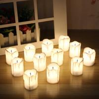 elektrische dekorationen großhandel-12 Stück LED elektrische batteriebetriebene Teelicht Kerzen warmweiß flammenlos für Urlaub / Hochzeitsdekoration