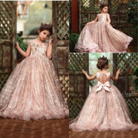 Wholesale black red gown for kids girl resale online - 2020 New Rose Gold Sequined Flower Girl Dresses For Weddings Lace Sequins Bow Open Back Sleeveless Girls Pageant Dress Kids Communion Gowns