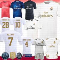 kits de futebol para homens venda por atacado-19 20 Ouro Real Madrid Futebol Jersey7 PERIGO VINICIUS JR.4 SERGIO RAMOS 11 BALE JOVIC Benzema MARCELO Asensio Crianças Kits Camisa De Futebol Dos Homens