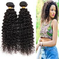 extensiones de peluca rizada al por mayor-Brasileño rizado rizado paquetes de cabello humano extensión color natural no remy cabello mujeres pelucas de pelo herramientas de peinado