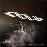 moderne pendelleuchte großhandel-Moderne Minimalist Led Kronleuchter Welle Pendelleuchte 40W / 80W Led Suspending Lampen-Befestigungs-Esszimmer Wohnzimmer Hanging Light Metal + Acryl