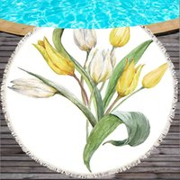 Wholesale flower light for pool for sale - Group buy Flower Beach Towels for Adults G Thick Round Beach Towel with Tassels cm Large Bath Towel Swimming Pool