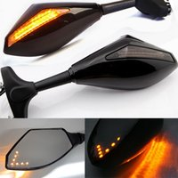 Wholesale side view mirror signal lights resale online - Motorcycle Rearview Mirrors LED Turn Signals Lights Handlebar Rear View Side Mirror Universal Rearview Mirrors Reflective