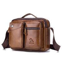 bolsa de cuero vintage para laptop al por mayor-Los bolsos del bolso Purses15.6 pulgadas de lujo impermeable de cuero genuino de la vendimia de la lona de la taleguilla de la cartera de hombro grande del ordenador portátil del bolso de cuero