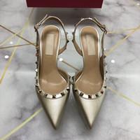 ingrosso scarpe da sposa formato 43-2019 donne di marca pompe scarpe da sposa donna sandali slingbacks moda rivetti scarpe sexy tacchi alti scarpe da sposa taglia 34-43