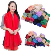 Girls Solid Sarong Scarves Plain Beach Silk Scarf Long Sunscreen Shawl Cotton Linen Soft Wraps Girls HeadScarf 38 Colors 180*100cm D28