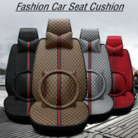 ingrosso copri poggiatesta per auto-Lino Car Seat Cover Set Poggiatesta Cuscino Lombare Cuscino Auto Mat Four Season All Clusive Panno Art Car Interior Accessori HHA189