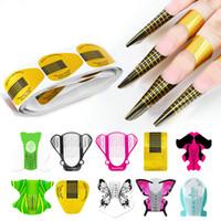ingrosso chiodi stencils d'arte-100Pcs / Nail Art set Gel UV Tips Extension Form Builder acrilico francesi Chiodi Consigli prolunga Stencil Guida Adesivi Per Manicure Tools