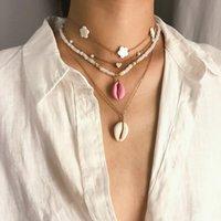 joyería de acrílico enlace al por mayor-Collar de cadena de eslabones multicapa Gargantilla Big Shell Star Collar de cuentas de acrílico Collier Mujeres Bijoux Bohemian Beach Jewelry