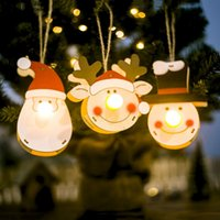 Wholesale glow board for sale - Group buy New Christmas Santa Claus Wooden Glowing Pendant Door Wall Hanging Merry Christmas Board Decorations For Home y